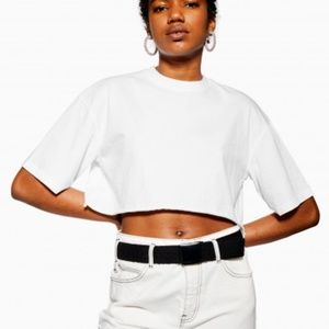 Topshop wide cropped solid white tee t-shirt crop